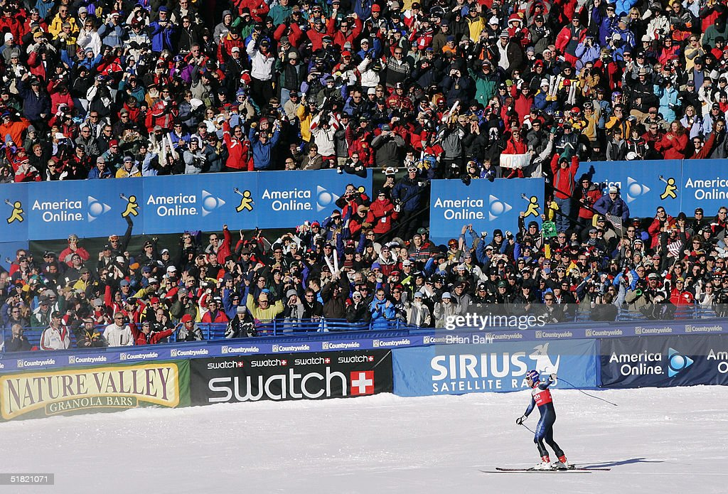 Bode Miller #17 of the USA gestures towards the crowd after his first place finish during the mens World Cup Downhill on December 3, 2004 on the Birds of Prey course at Beaver Creek, Colorado.