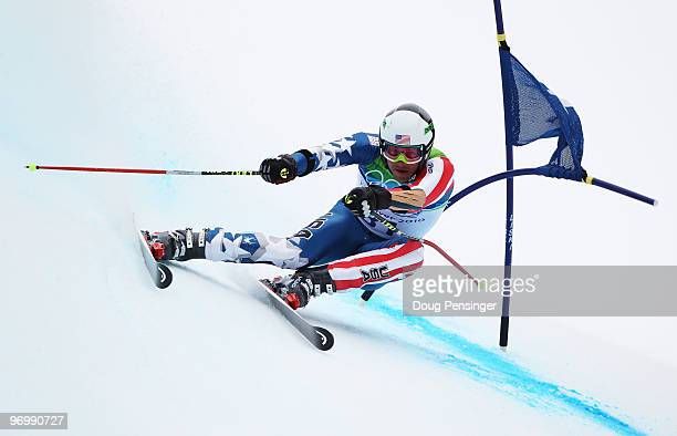 Bode Miller of the USA in action before missing a gate during the first run of the Alpine Skiing Men's Giant Slalom on day 12 of the Vancouver 2010...