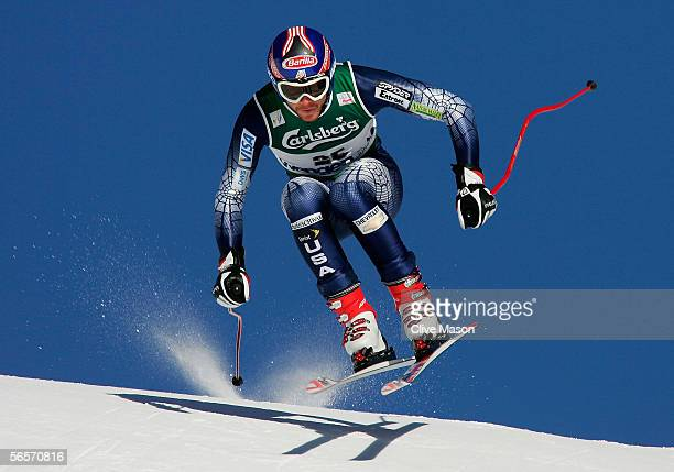 Bode Miller of the USA in action during first training for the Wengen FIS World Cup Downhill race on January 11 in Wengen Switzerland