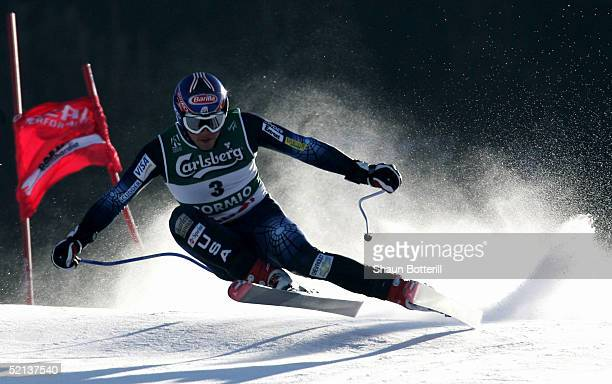 Bode Miller of the USA in action during his first place finish in the Mens Downhill at the FIS Alpine World Ski Championships 2005 on February 5 2005...