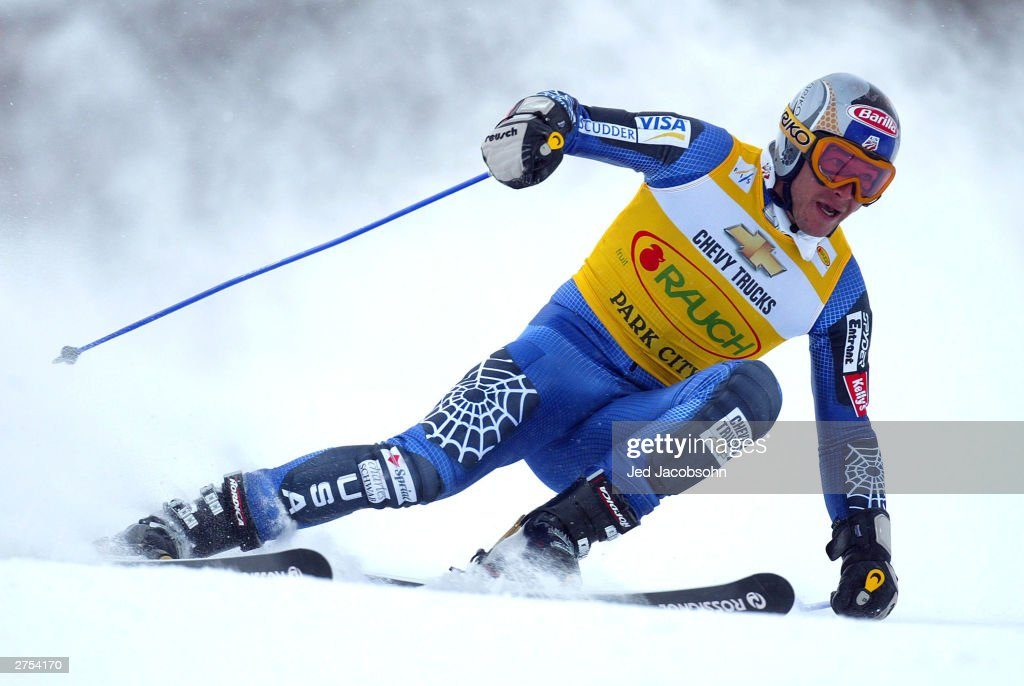 Bode Miller of the USA in action on his second run of the Mens FIS Alpine World Cup Giant Slalom on November 22, 2003 at Park City ski resort in Park City, Utah. Miller won the event.