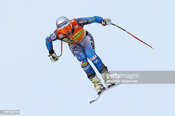 Bode Miller of the USA jumps on the Lake jump during the downhill part of the men's Alpine Skiing Audi FIS World Cup Super Combined event at Rosa...