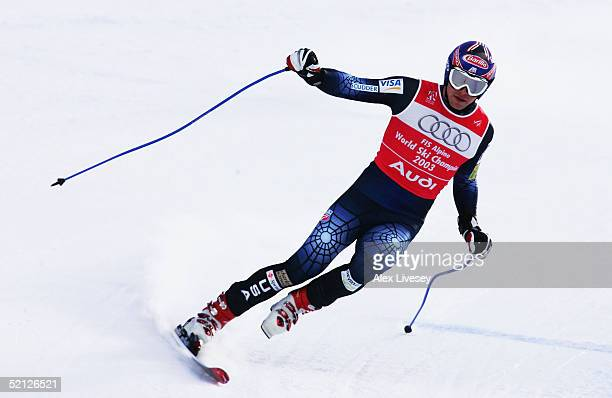 Bode Miller of the USA ski's down the slope on one ski and doesnt finish the race in the Mens Combined Downhill at the FIS Alpine World Ski...