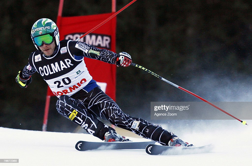 Bode Miller of the USA takes 1st place during the Alpine FIS Ski World Cup Men's Downhill on December 29, 2007 in Bormio, Italy.