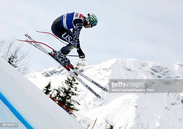 Bode Miller of the USA takes 1st place during the Audi FIS Alpine Ski World Cup Men's Super Combined on January 15, 2010 in Wengen, Switzerland.