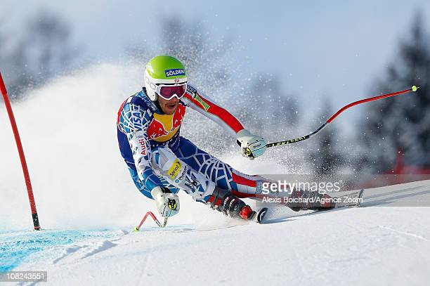 Bode Miller of the USA takes 2nd place during the Audi FIS Alpine Ski World Cup Men's Downhill on January 22 2011 in Kitzbuehel Austria