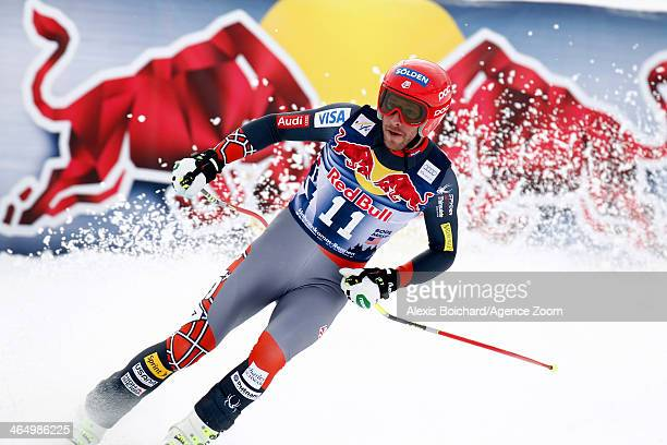 Bode Miller of the USA takes 3rd place during the Audi FIS Alpine Ski World Cup Men's Downhill on January 25 2014 in Kitzbuehel Austria