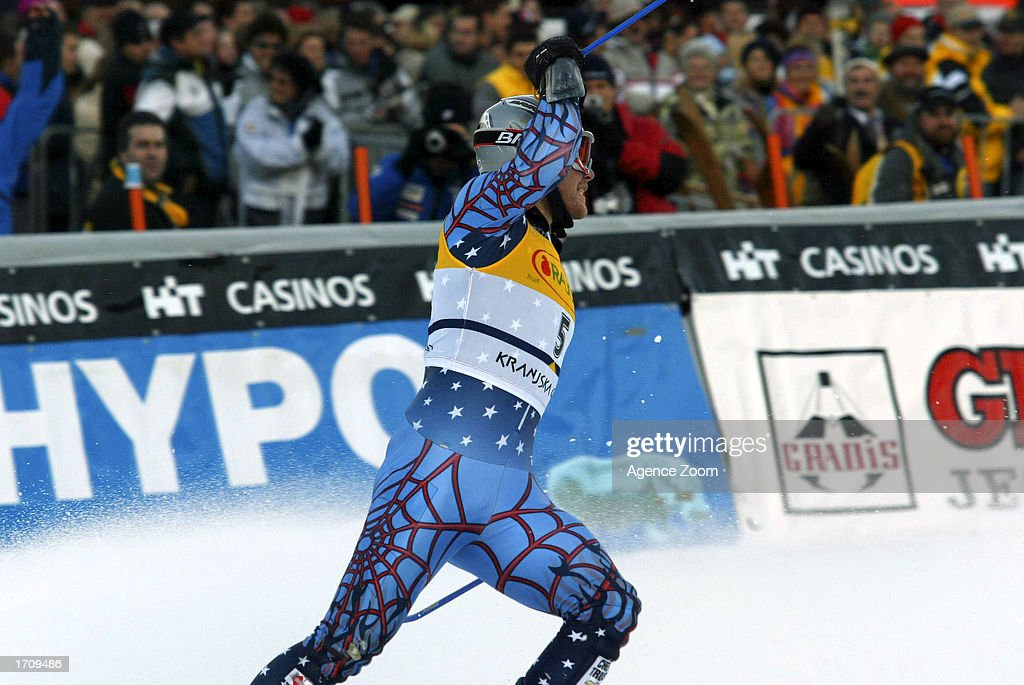 Bode Miller of the USA takes celebrates en route to winning the Men's Giant Slalom on January 4, 2003 at the FIS World Cup in Kranjska Gora, Slovenia.