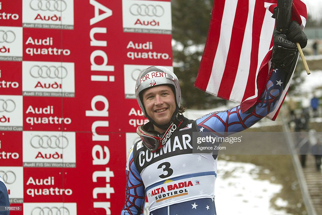 Bode Miller #3 of the USA wins the FIS Alpine Ski World Cup 2002/2003, men's giant slalom on December 22, 2002 in Alta Badia, Italy.