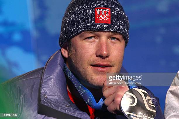 Bode Miller of United States celebrates winning the Silver medal during the medal ceremony for the men's SuperG on day 8 of the Vancouver 2010 Winter...