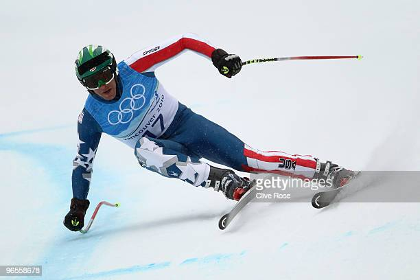 Bode Miller of United States competes in the men's alpine skiing downhill practice held at Whistler Creekside ahead of the Vancouver 2010 Winter...