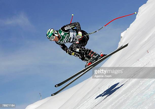 Bode Miller of United States competes on his way to taking 1st place during the Alpine FIS Ski World Cup Men's Downhill on January 13 2008 in Wengen...