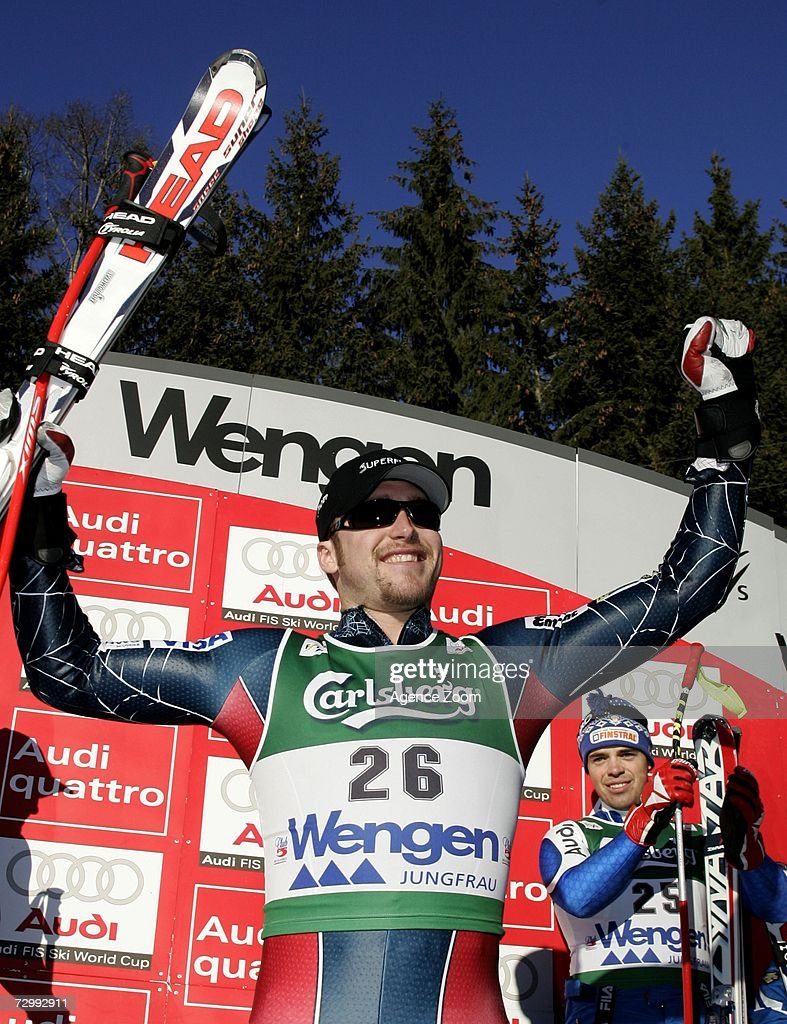 Bode Miller of US celebrates 1st place during the FIS Skiing World Cup Men's Downhill on January 13, 2007 in Wengen, Switzerland.