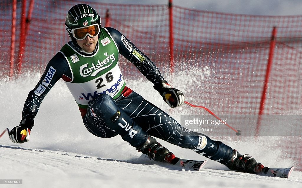 Bode Miller of US in action on his way to 1st place during the FIS Skiing World Cup Men's Downhill on January 13, 2007 in Wengen, Switzerland.