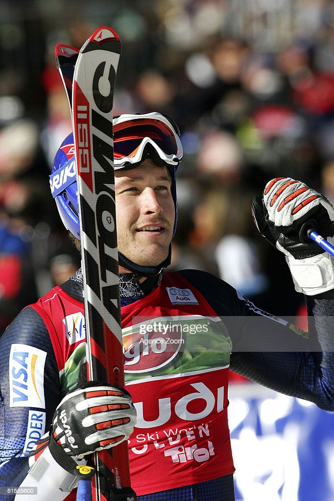 Bode Miller of USA celebrates during the Men's Giant Slalom at the FIS Alpine Ski World Cup on October 24, 2004 in Soelden, Austria. Miller finished in first place.