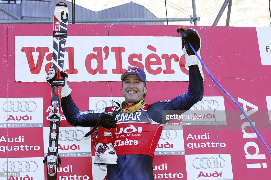 Bode Miller of USA celebrates winning the FIS Ski World Cup 2005 Mens Super Giant Slalom Slalom event on December 12, 2004 in Val D'Isere, France.