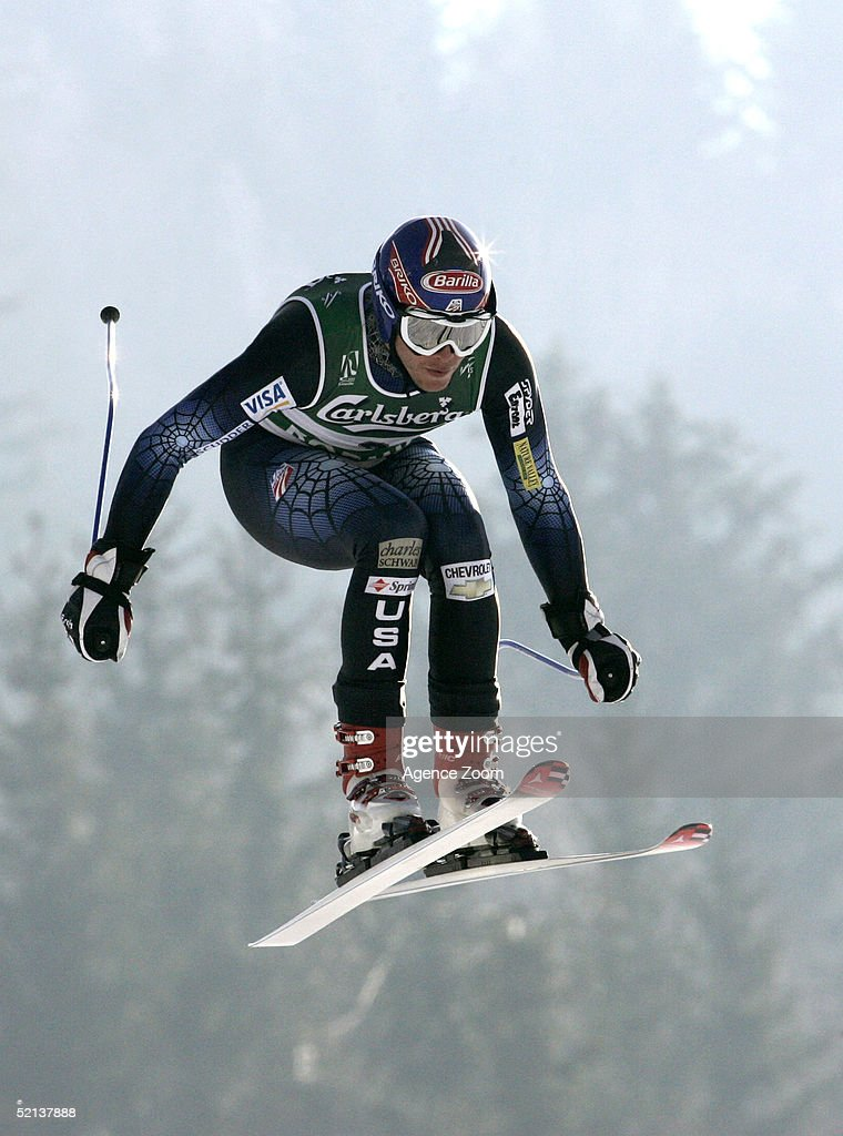 Bode Miller of USA competes during his first place finish in the Men's Downhill at the FIS Alpine World Ski Championships 2005 on February 5, 2005 in Bormio, Italy.