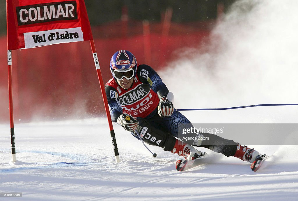 Bode Miller of USA in action during the FIS Ski World Cup 2005 Mens Super Giant Slalom Slalom event on December 12, 2004 in Val D'Isere, France.