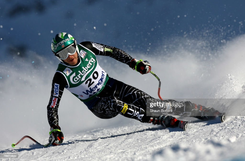 Bode Miller of USA in action during the Men's Downhill on January 13, 2008 in Wengen, Switzerland.