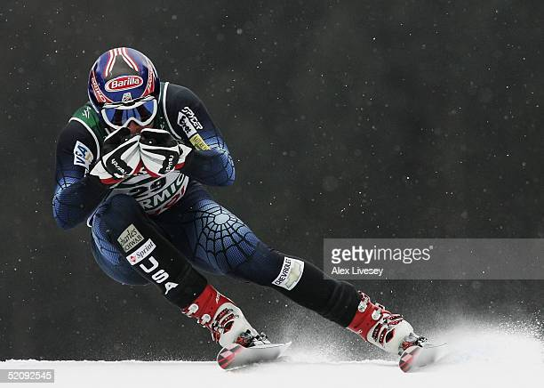 Bode Miller of USA in action during the Men's Downhill practice session at the FIS Alpine World Ski Championships 2005 on February 1 2005 in Bormio...