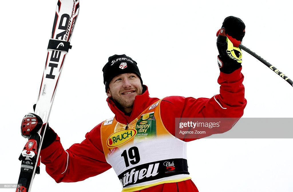 Bode Miller of USA takes 1st place during the Alpine FIS Ski World Cup. Men's Downhill on March 01, 2008 in Kvitfjell, Norway.