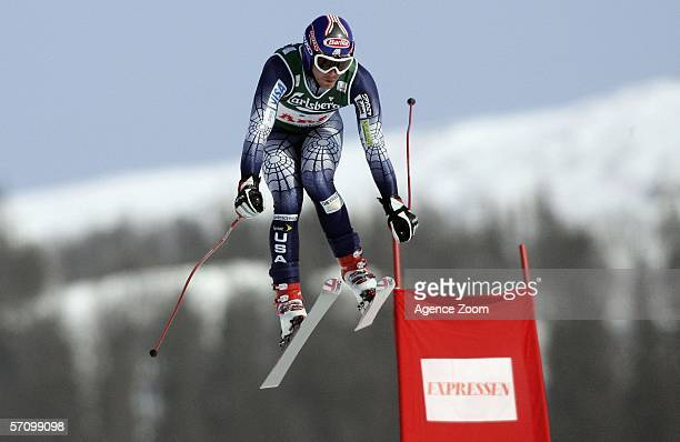 Bode Miller of USA takes 2nd place during the FIS Skiing World Cup Men's Downhill on March 15 2006 in Aare Sweden