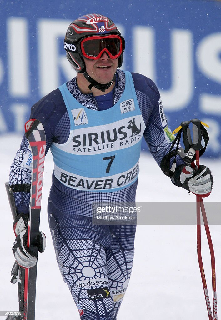 Bode Miller #7 recovers at the finish line after his first place finish in the second run during FIS Alpine Skiing World Cup giant slalom race on December 3, 2005 on Birds of Prey at Beaver Creek in Avon, Colorado.