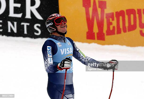 Bode Miller ski's in the FIS Alpine Skiing World Cup Downhill race on December 1 2005 at Beaver Creek in Avon Colorado