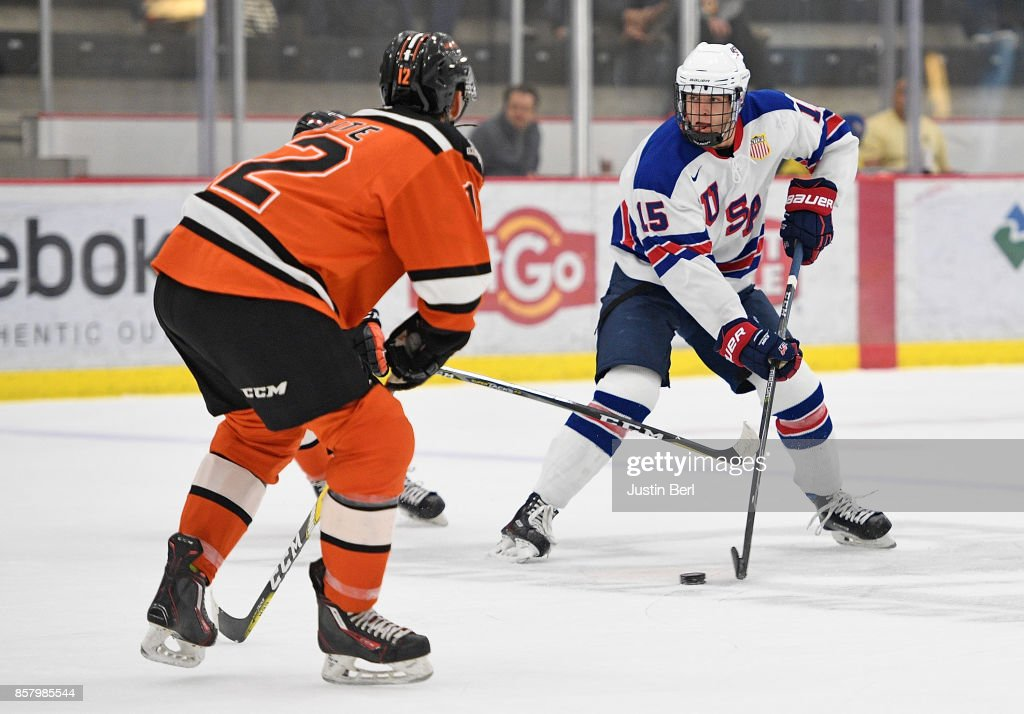 Bode Wilde #15 of Team USA handles the puck in the third period during the game against the Omaha Lancers on Day 3 of the USHL Fall Classic at UPMC Lemieux Sports Complex on September 30, 2017 in Cranberry Township, Pennsylvania.