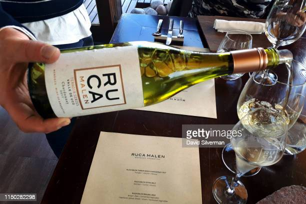 Bodega Ruca Malen's Terroir series Chardonnay 2017 vintage is served at the start of a sevencourse tasting menu at the winery's restaurant on March...