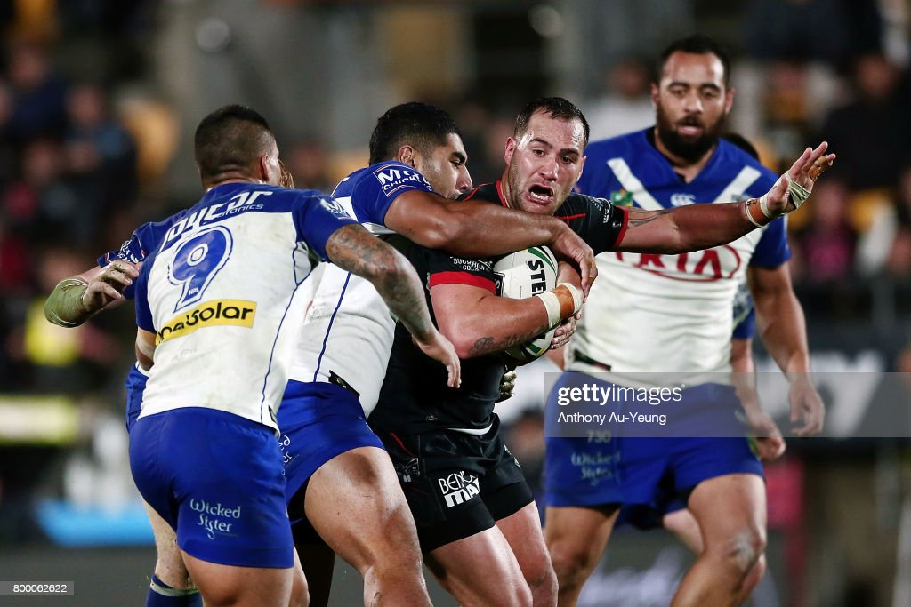 Bodene Thompson of the Warriors charges on during the round 16 NRL match between the New Zealand Warriors and the Canterbury Bulldogs at Mt Smart Stadium on June 23, 2017 in Auckland, New Zealand.