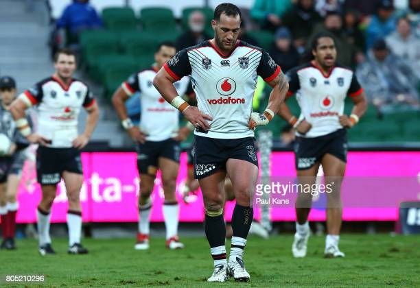 Bodene Thompson of the Warriors looks on after a Sea Eagles try during the round 17 NRL match between the Manly Sea Eagles and the New Zealand...