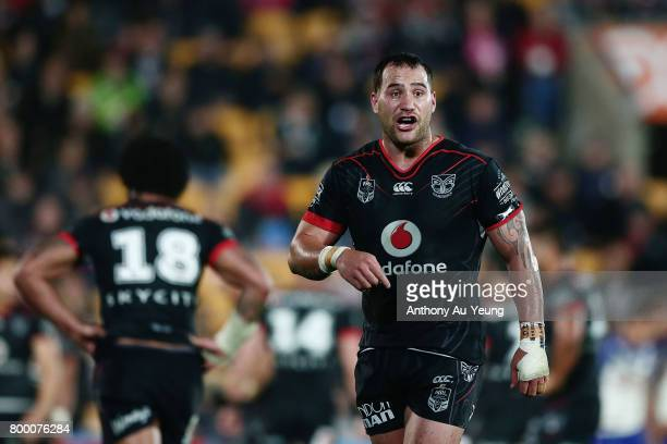 Bodene Thompson of the Warriors reacts during the round 16 NRL match between the New Zealand Warriors and the Canterbury Bulldogs at Mt Smart Stadium...