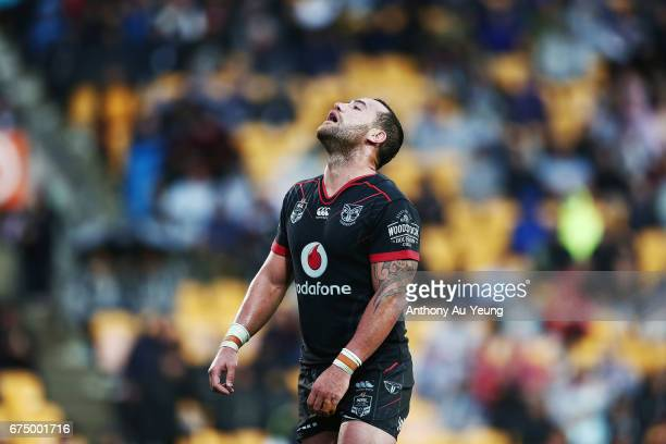Bodene Thompson of the Warriors reacts during the round nine NRL match between the New Zealand Warriors and the Sydney Roosters at Mt Smart Stadium...
