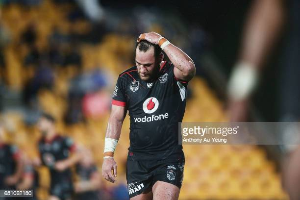 Bodene Thompson of the Warriors reacts during the round two NRL match between the New Zealand Warriors and the Melbourne Storm at Mt Smart Stadium on...
