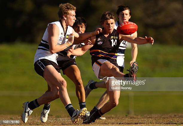 Bodhi Butts of the Bushrangers kicks during the round 15 TAC Cup match between the Northern Knights and Murray Bushrangers at NAB Oval on July 31...
