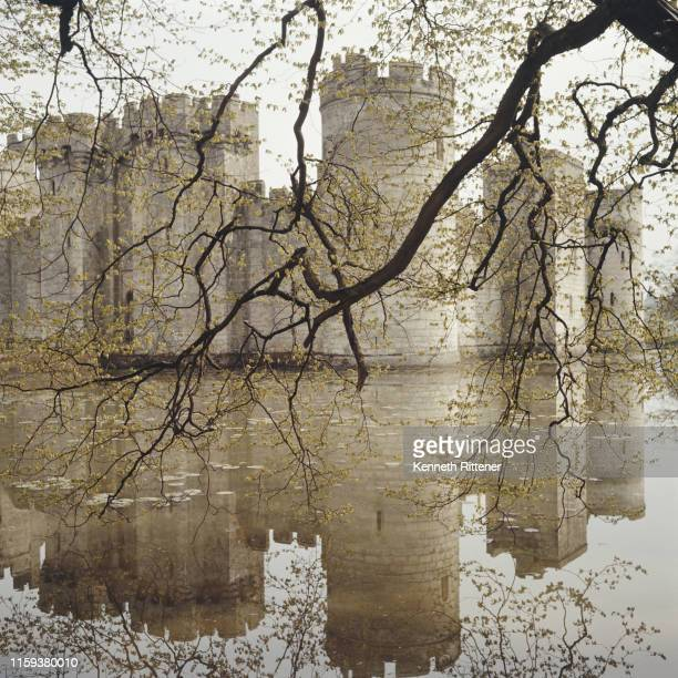 Bodiam Castle, a 14th century moated castle in East Sussex, circa 1970.