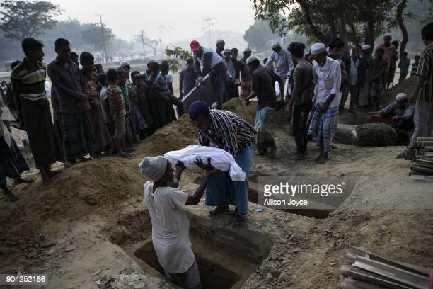 COX'S BAZAR BANGLADESH JANUARY 12 Bodies are taken for burial in Balukhali camp on January 12 2018 in Cox's Bazar Bangladesh 30 year old Nurhaba 8...
