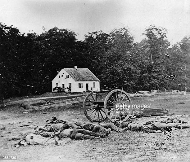Bodies await burial in front of Dunker Church Antietam, Maryland, during the American Civil War. The battle was the bloodiest day in American history...