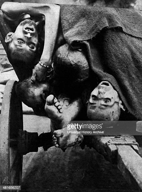 Bodies being removed in 1945 for burial at Gusen concentration camp after its liberationGusen is the name of the biggest Nazi concentration camp...