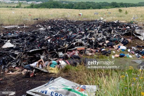 Bodies lie among the wreckage at the site of the crash of a Malaysia Airlines plane carrying 298 people from Amsterdam to Kuala Lumpur in Grabove in...