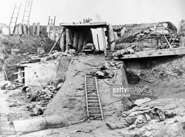 Bodies lie on a slope in the interior of North Taku Fort near the French Entrance during the Second Opium War on August 21 1860 in China