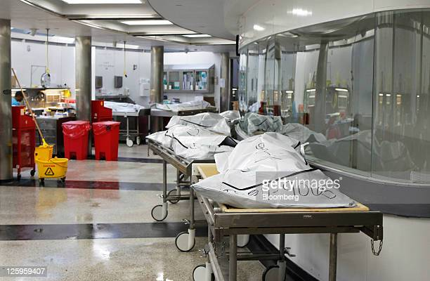 Bodies lie on gurneys in the autopsy room at the Wayne County Medical Examiner's office in Detroit Michigan US on Wednesday Sept 7 2011 The bodies...