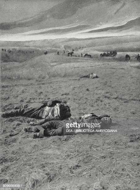Bodies of dead soldiers in Thrace after it was recaptured from the Bulgarians by Turkish troops Second Balkan War photograph by Dimitr Larastoyanow...