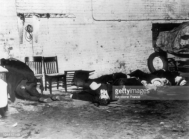 Bodies of mobsters from the Morand gang killed in Chicago by Al CAPONE's gang on February 14 1929