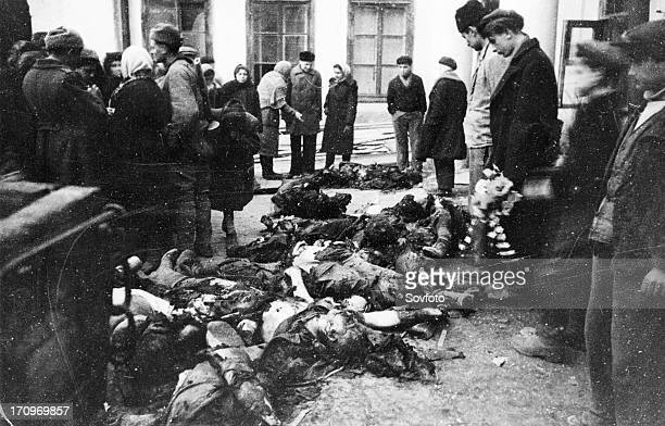 Bodies of odessa civilians who were burnt alive by germanrumanian occupationists in the compound of gestapo and the rumanian siguranza may 1944