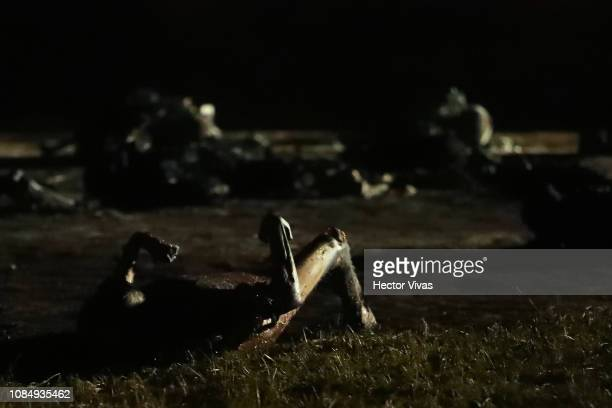 Bodies of people burnt after an explosion in a pipeline belonging to Mexican oil company PEMEX on January 19 2019 in Tlahuelilpan Mexico In a...