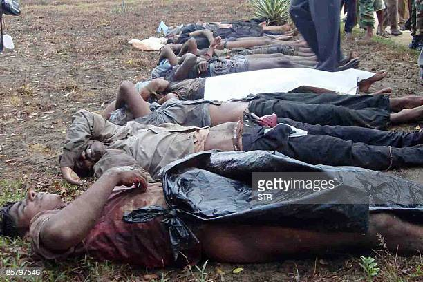 Bodies of Tamil Tiger rebels killed by police commandos are seen in the eastern district of Ampara on April 3 2009 Sri Lankan troops captured a key...