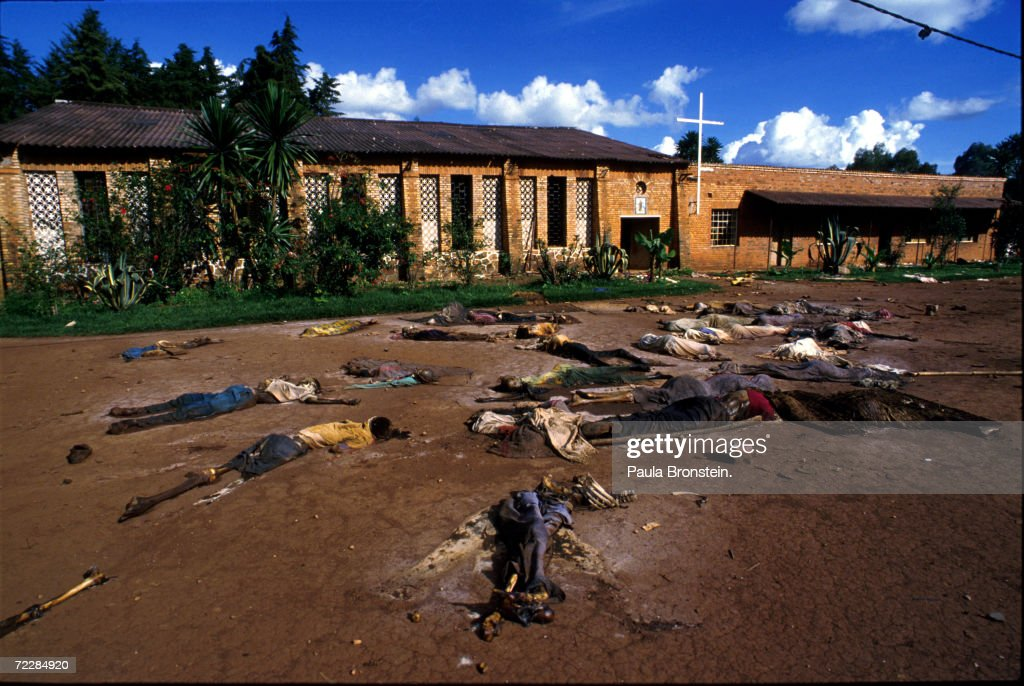 Bodies of Tutsi genocide victims lie outside a church in Rukara, Rwanda May 1994. One of the worst single acts of violence took place at the church, where 4,000 people seeking refuge there were killed by Hutu militias.