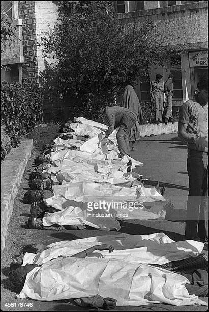 Bodies of victims of Bhopal gas tragedy lie on a roadside on December 4 1984 in Bhopal India on December 4 1984 in Bhopal India On the night of Dec...